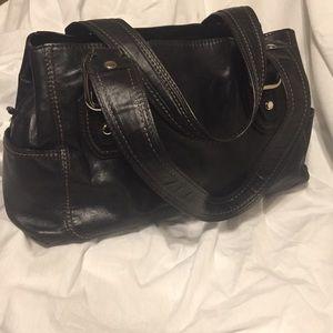 Fossil black leather shoulder handbag.